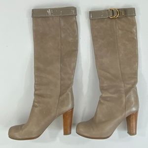 Chloé Tall Tan/Putty Leather Boots - 7.5/37.5